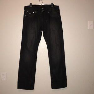 True Religion Black Straight Leg Jeans Men's 34